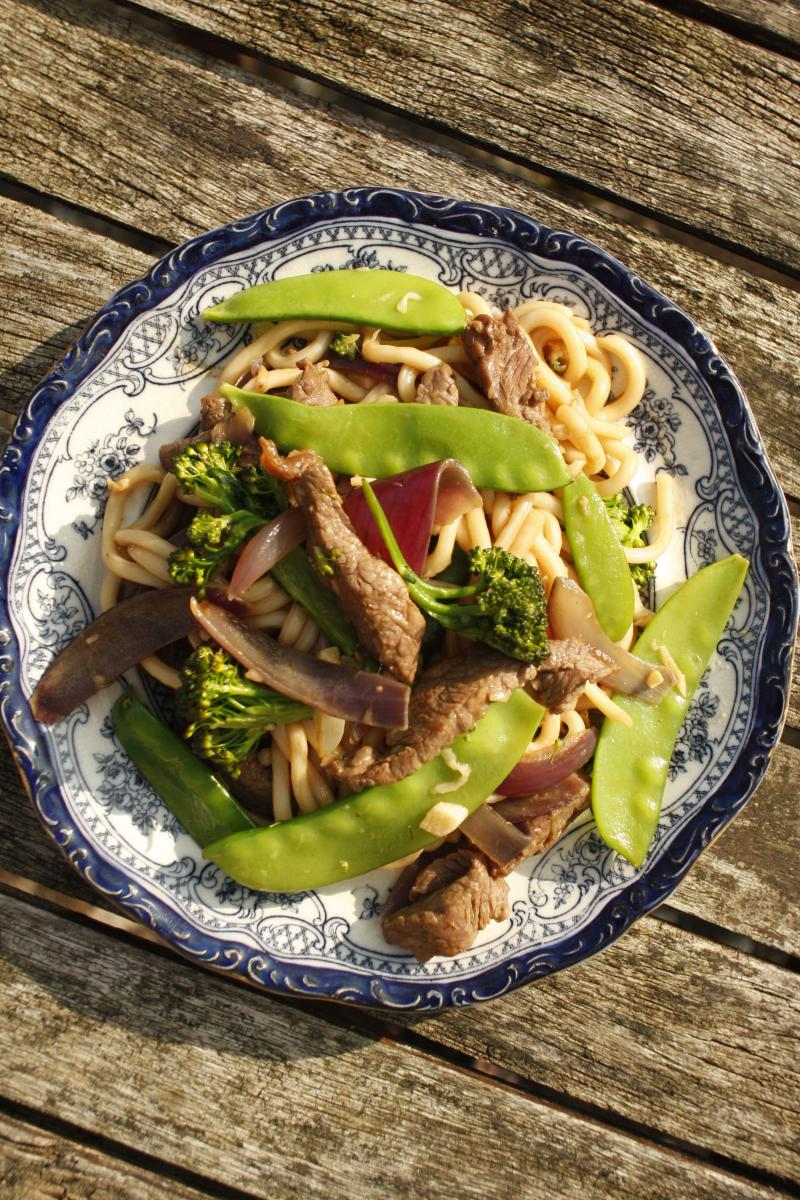 Noodle recipes - healthy beef stir fry - udon noodles recipes
