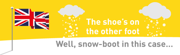 The shoe's on the other foot – well, snow-boot in this case